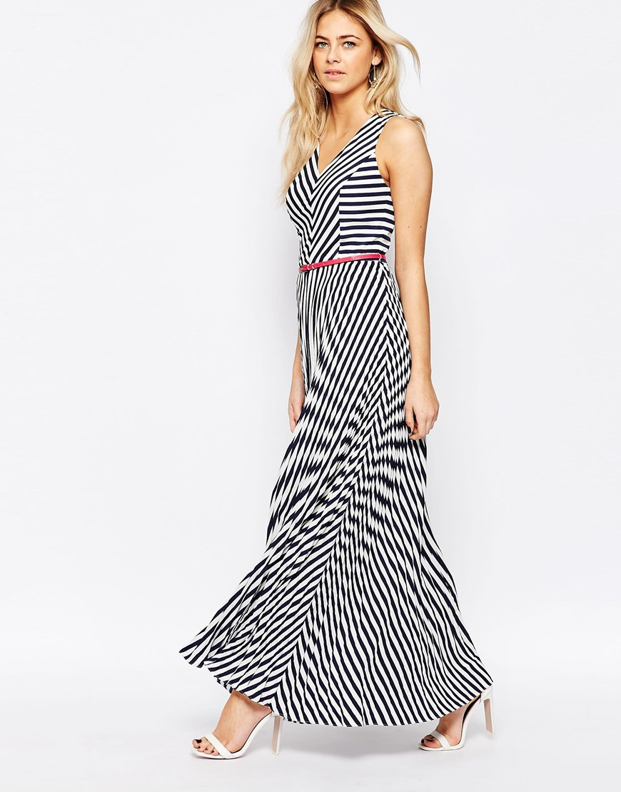 lyst oasis asis stripe maxi dress in black