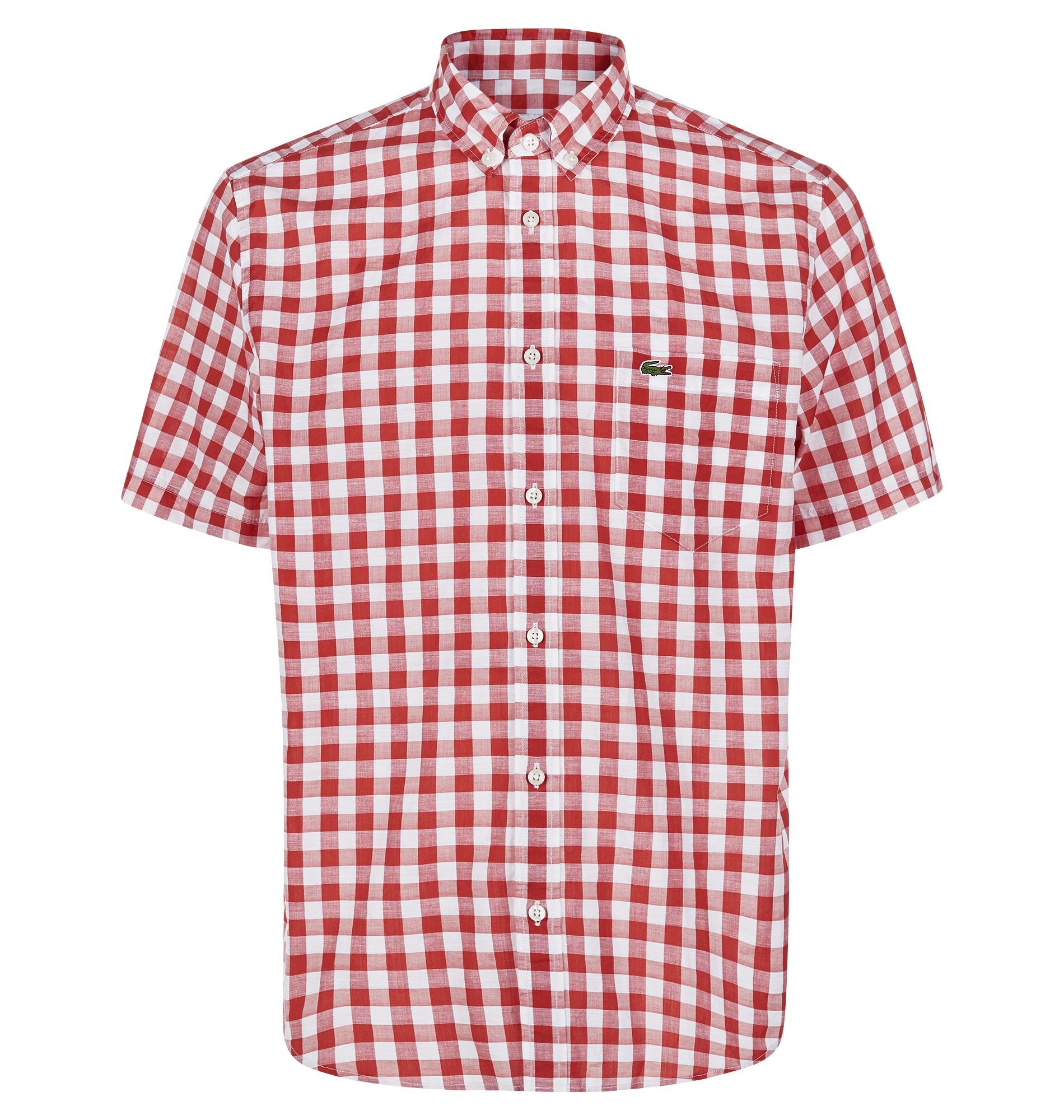 Lacoste Gingham Short Sleeve Button Down Shirt In Orange