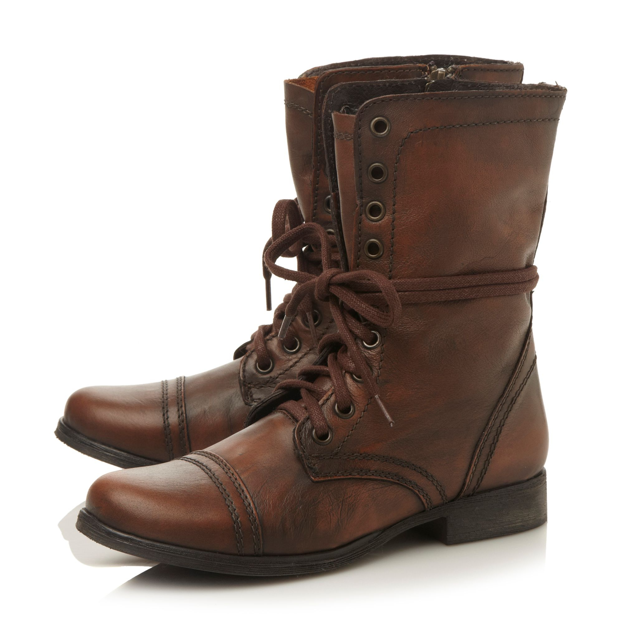 steve madden troopa sm lace up calf boot in brown lyst
