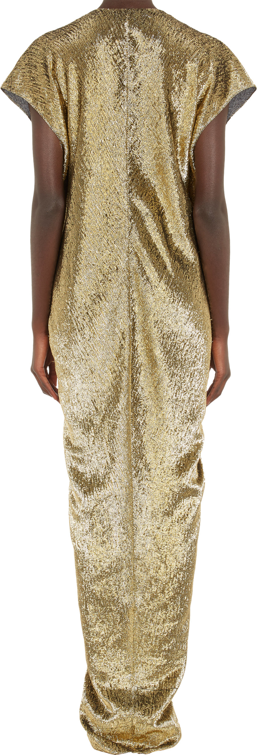 Lanvin Metallic Leopard Jacquard Belted Dress In Gold