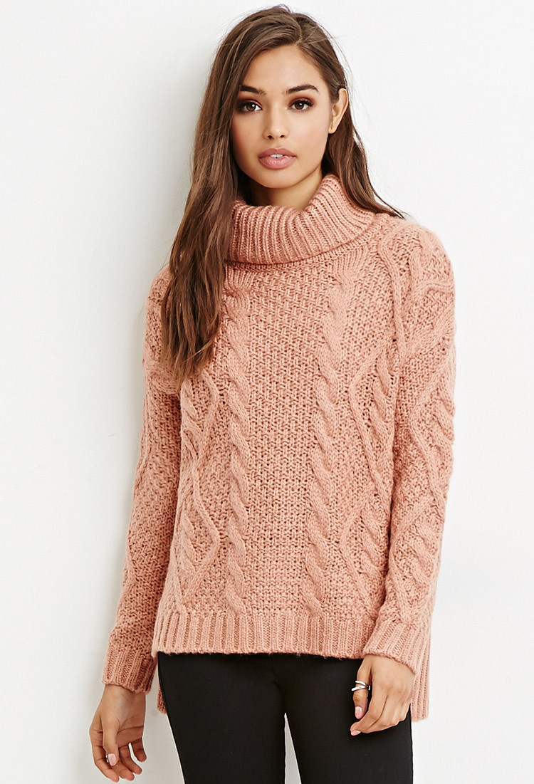 Lyst Forever 21 Cable Knit Turtleneck Sweater In Purple