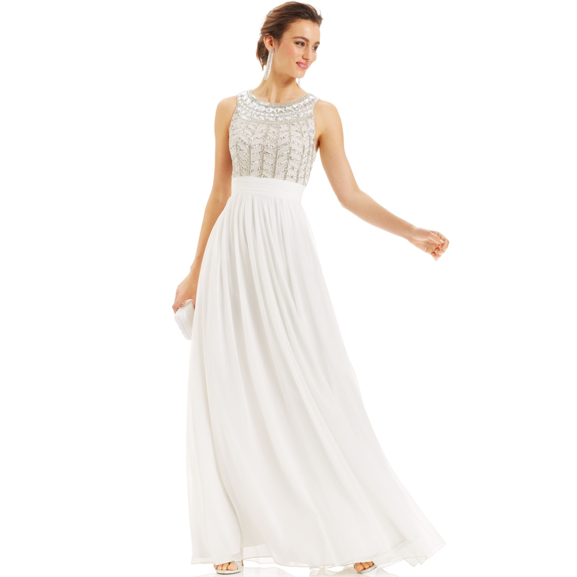 b2ad59880d Lyst - JS Collections Dress Sleeveless Beaded Empirewaist Gown in White