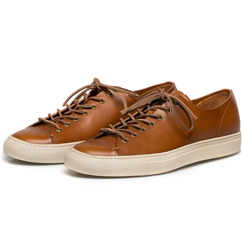 Buttero Tan Leather Tanino Low Profile Sneakers in Brown ...