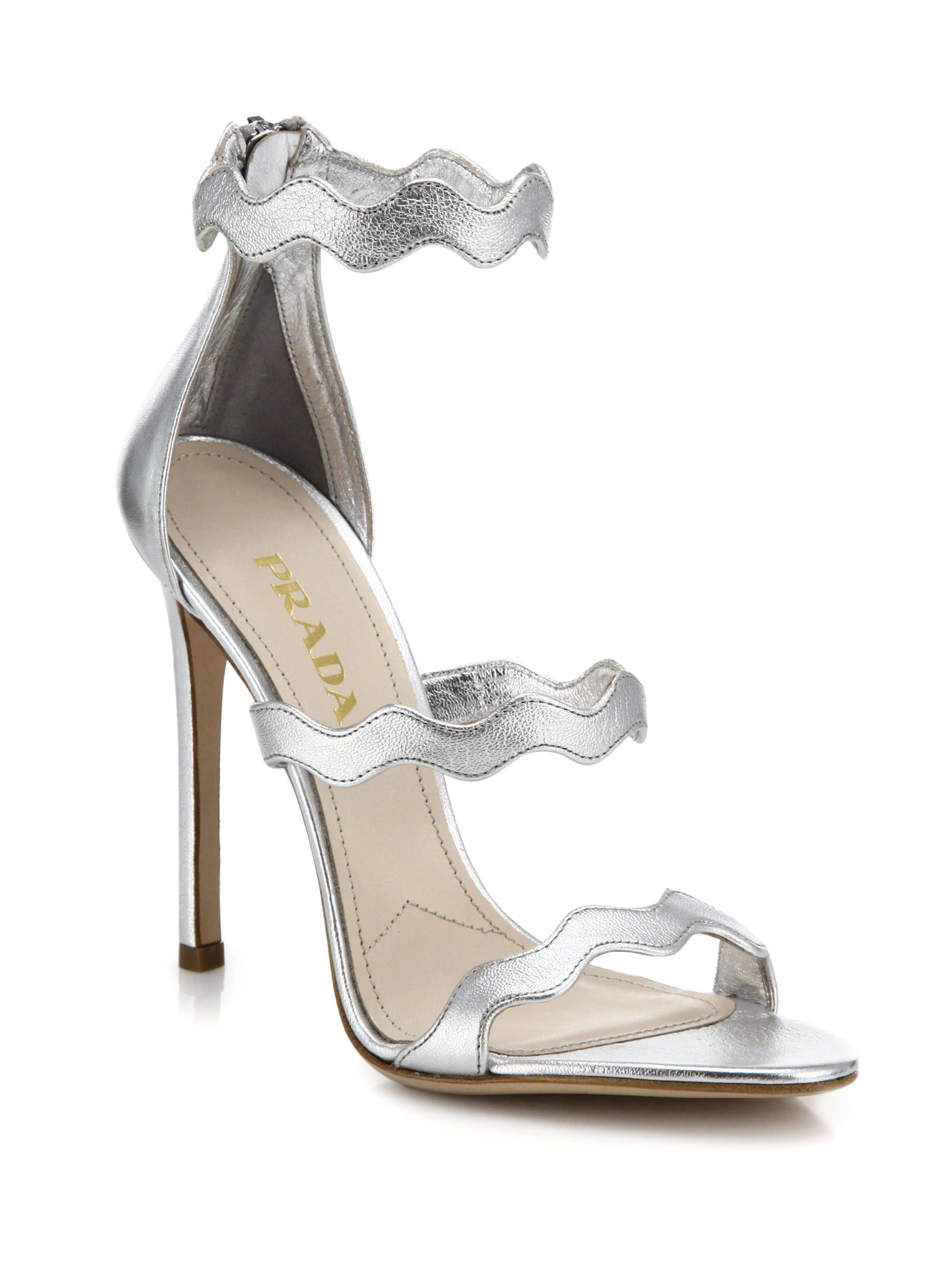 1f46f49201a Lyst - Prada Scalloped Metallic Leather Sandals in Metallic