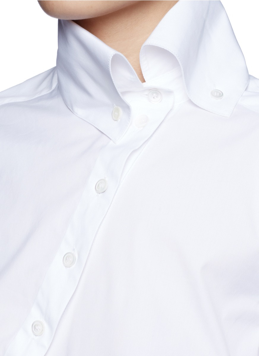 Lyst Mcq Slanted Placket High Collar Shirt In White