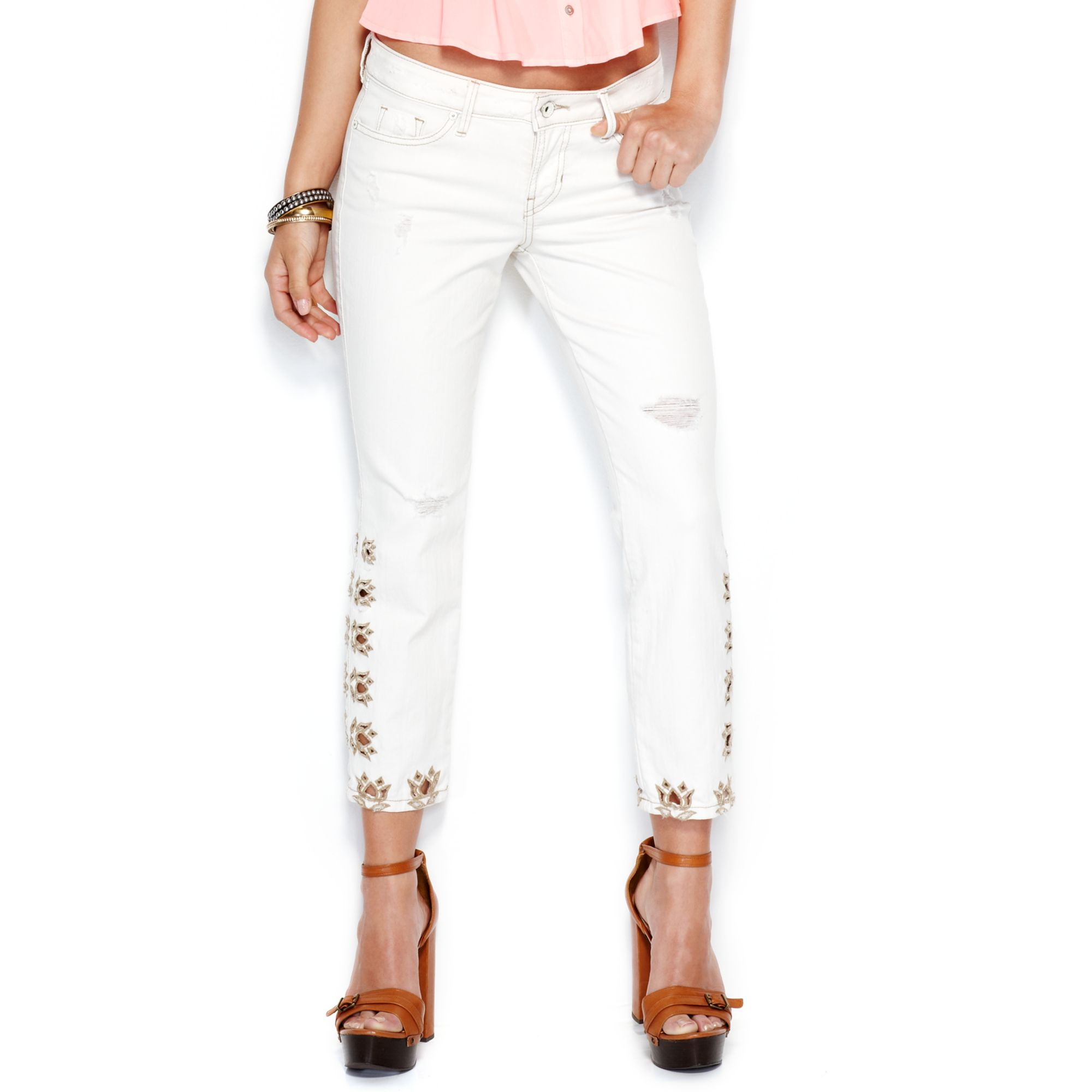 Guess embroidered cropped jeans in white vintage