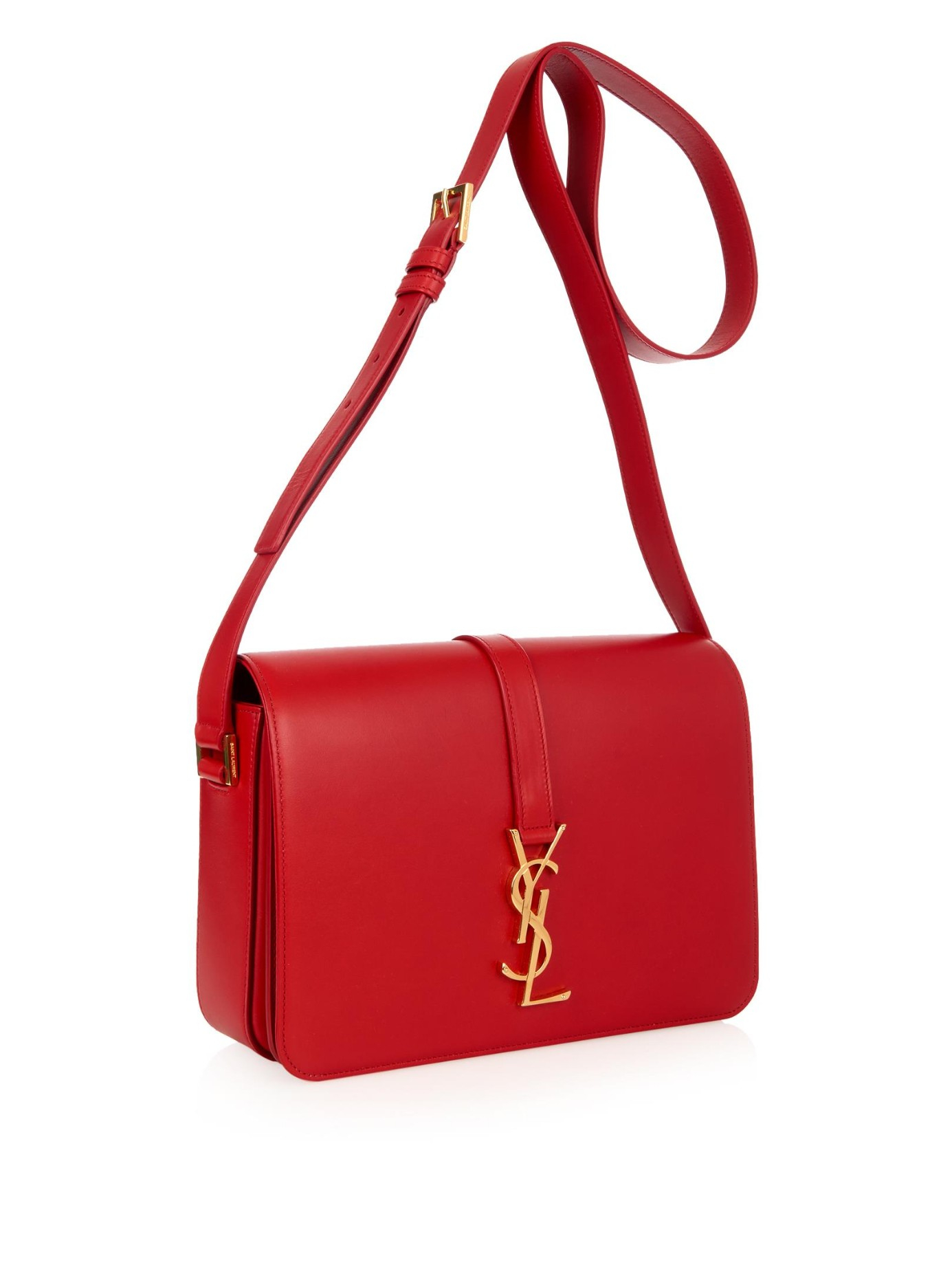 lyst saint laurent universit medium leather cross body bag in red. Black Bedroom Furniture Sets. Home Design Ideas