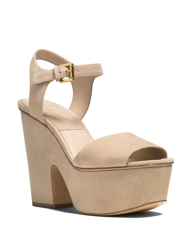 f76026ad9ed8 Lyst - Michael Kors Platform Sandals - Harley Suede High Heel in Natural