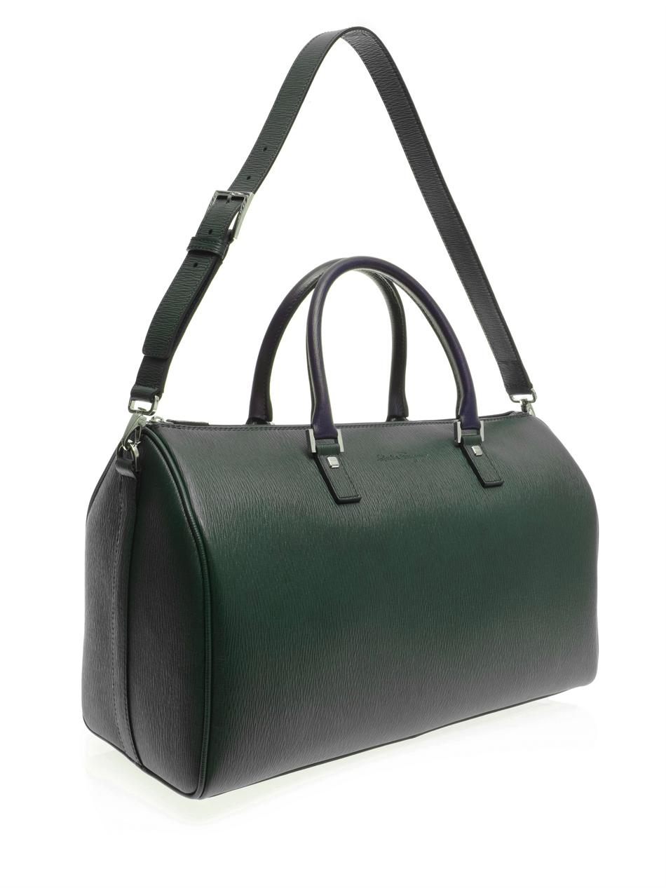 afcebf2cf7b0 ... Lyst - Ferragamo Contrast Revival Weekend Bag in Green for M newest  492cb 4a620  Salvatore ...