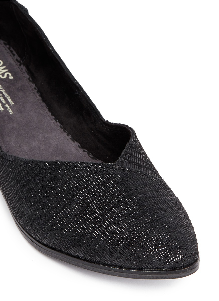 666e581c537 Lyst - TOMS  jutti  Embossed Print Suede Flats in Black
