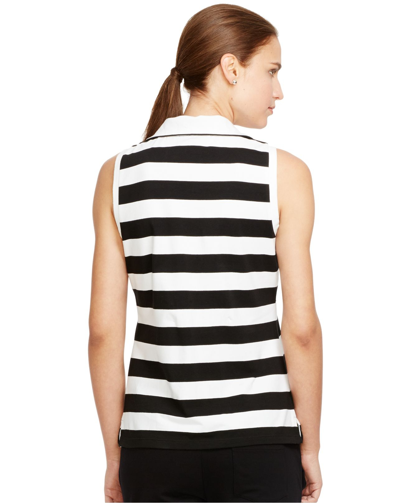 Lauren by ralph lauren striped sleeveless mock turtleneck for Sleeveless mock turtleneck shirts