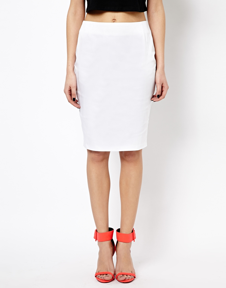 High Waisted White Pencil Skirt