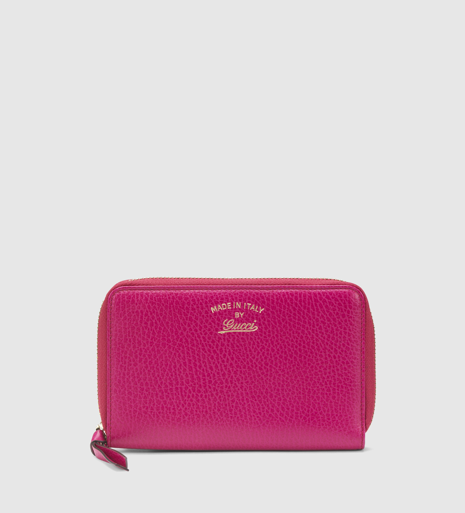 d861bc9accfe Gucci Swing Leather Zip Around Wallet in Pink - Lyst