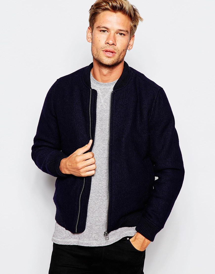 Selected 100% Wool Bomber Jacket in Black | Lyst