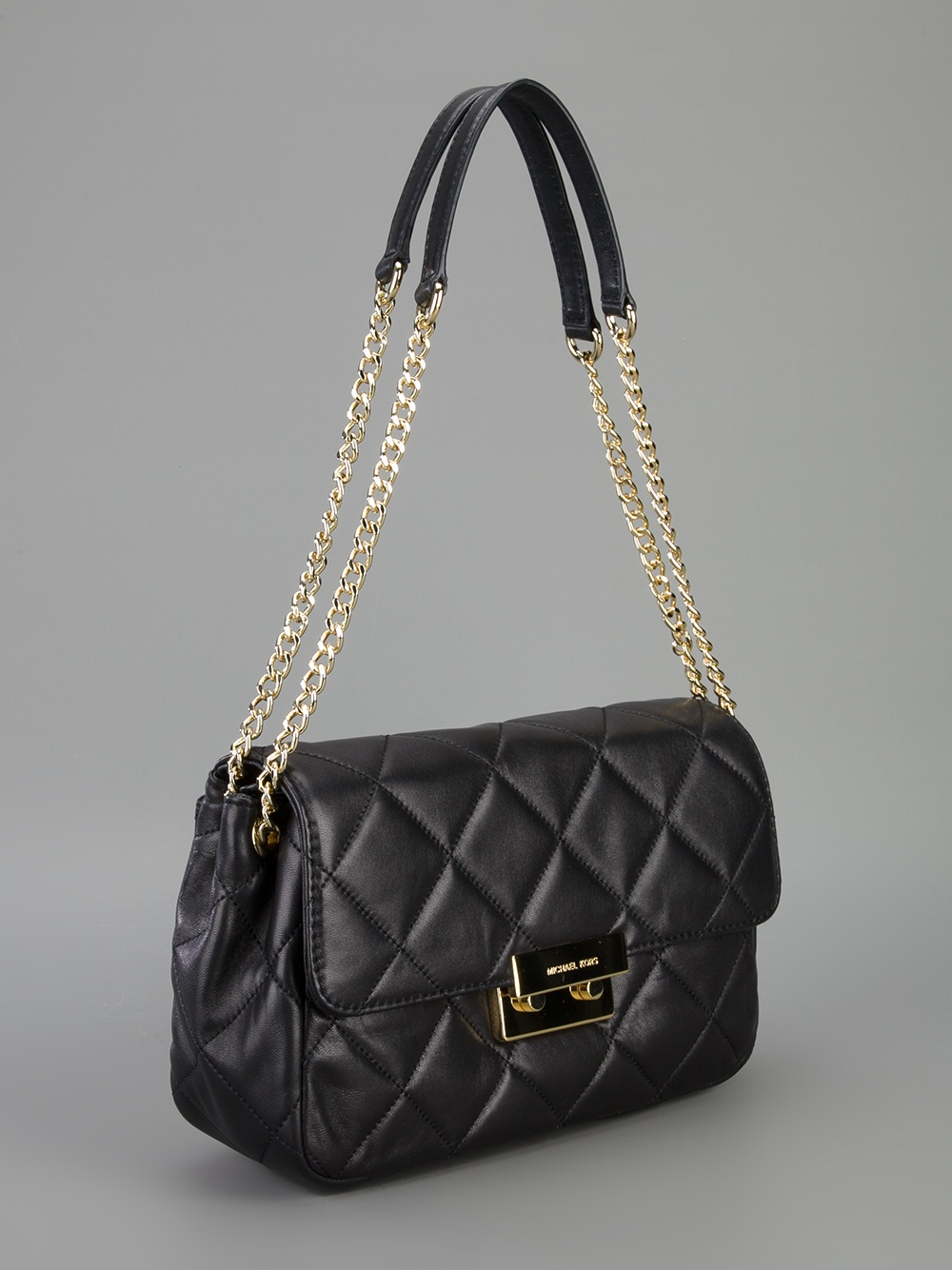 lyst michael michael kors quilted chain shoulder bag in black. Black Bedroom Furniture Sets. Home Design Ideas
