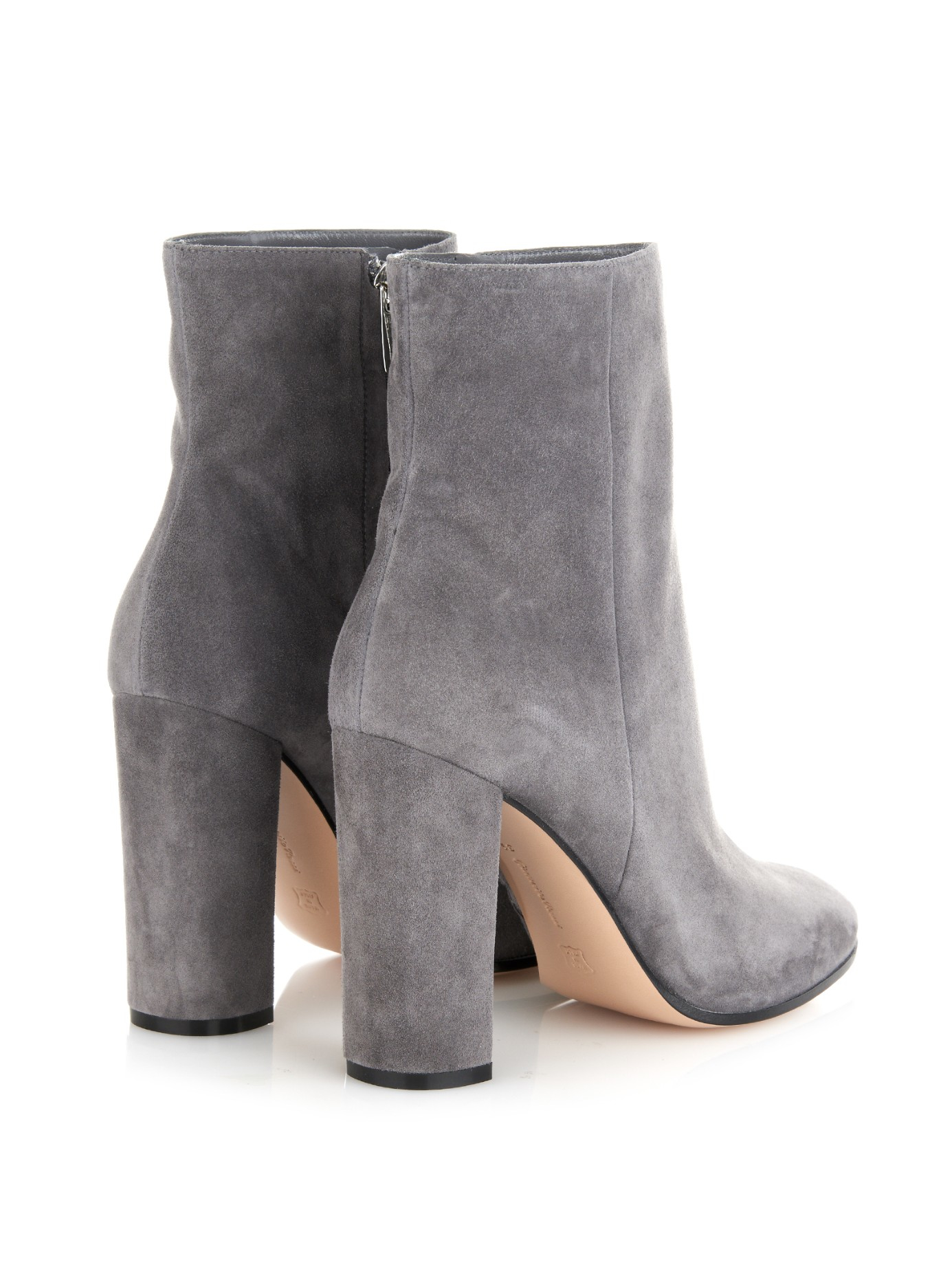 3e18fa687 Gianvito Rossi Rolling Suede Ankle Boots in Gray - Lyst
