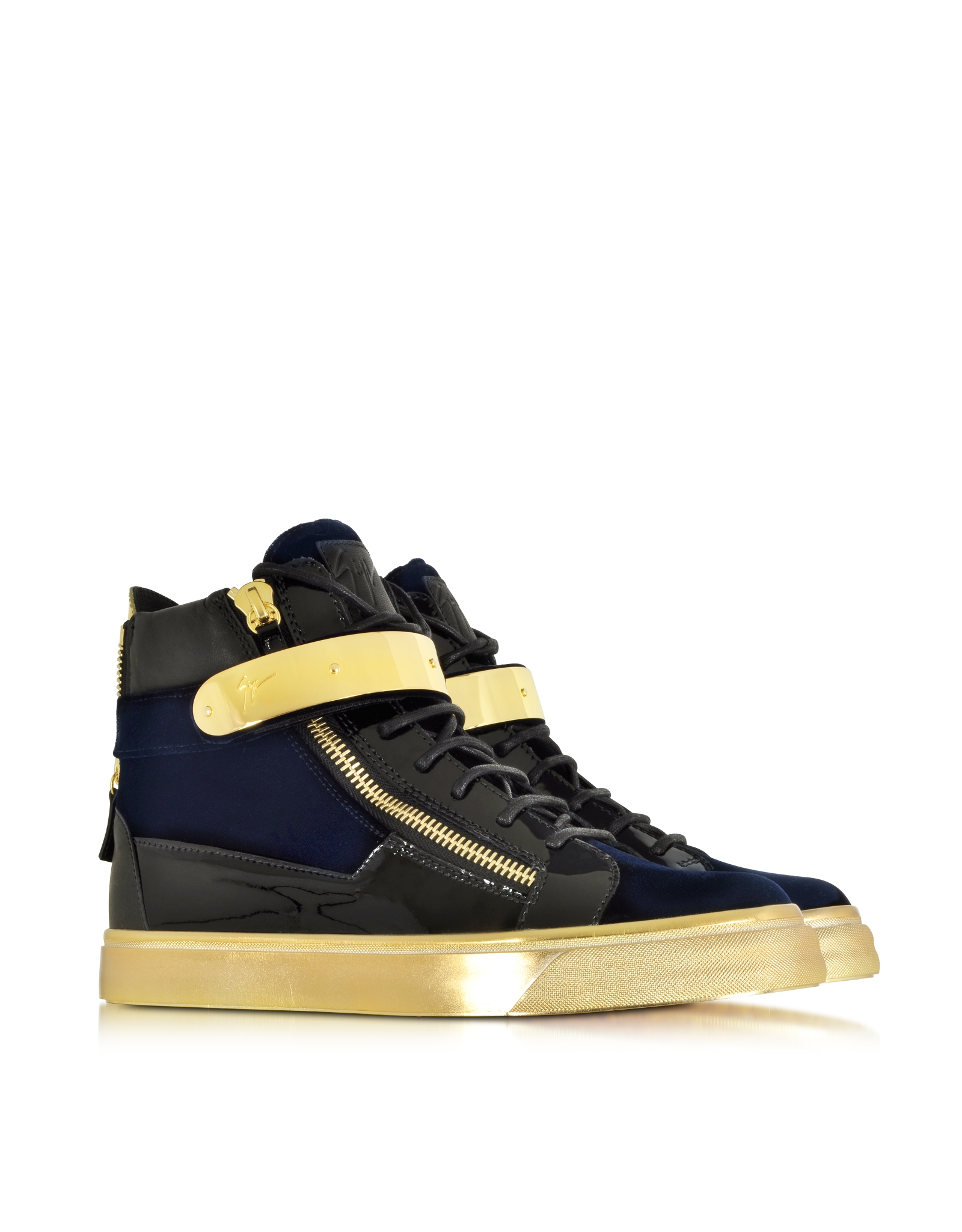 1b7995fbc161c Lyst - Giuseppe Zanotti Coby Navy Velvet And Patent Leather High-top ...
