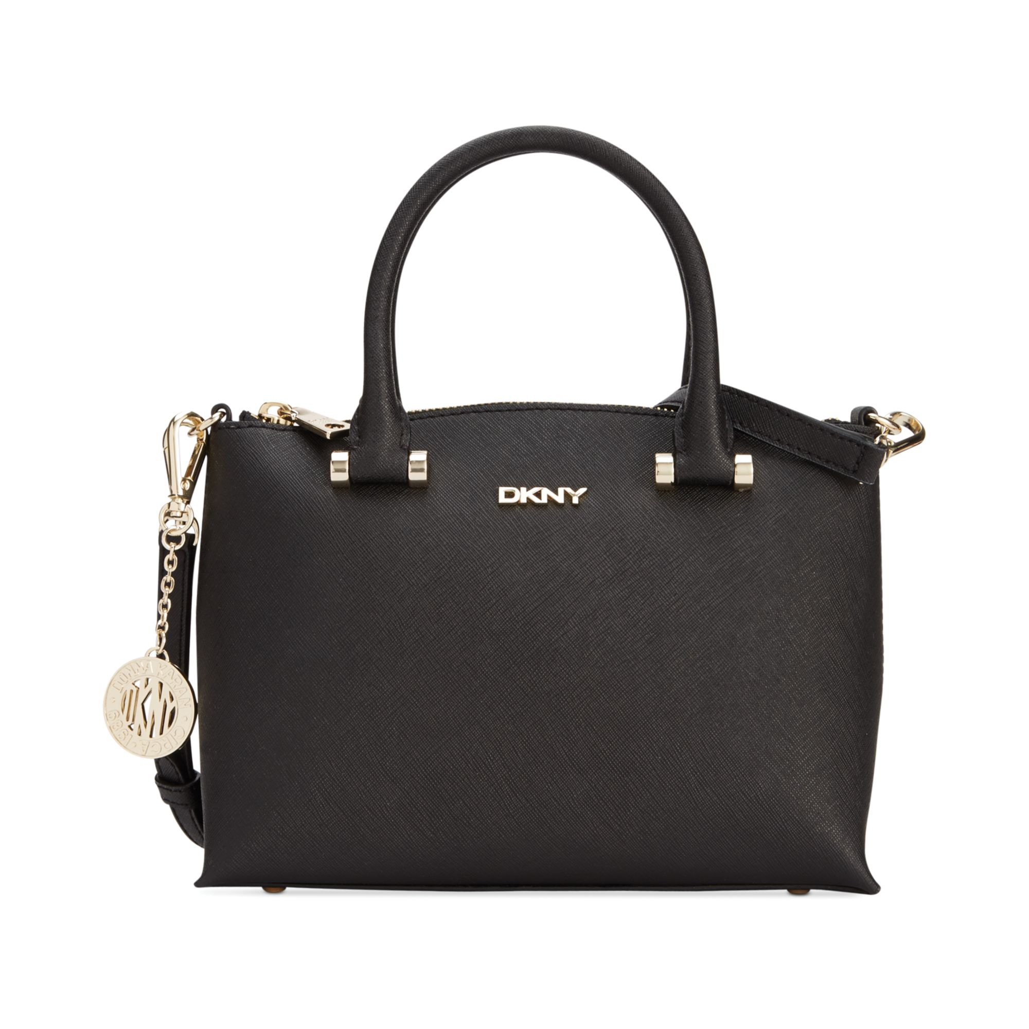 dkny bryant park saffiano top zip round crossbody in black lyst. Black Bedroom Furniture Sets. Home Design Ideas