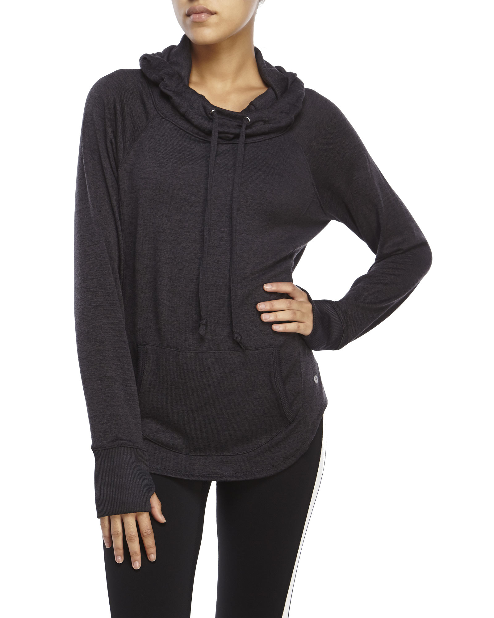 90 degree by reflex Funnel Neck Knit Hoodie in Gray