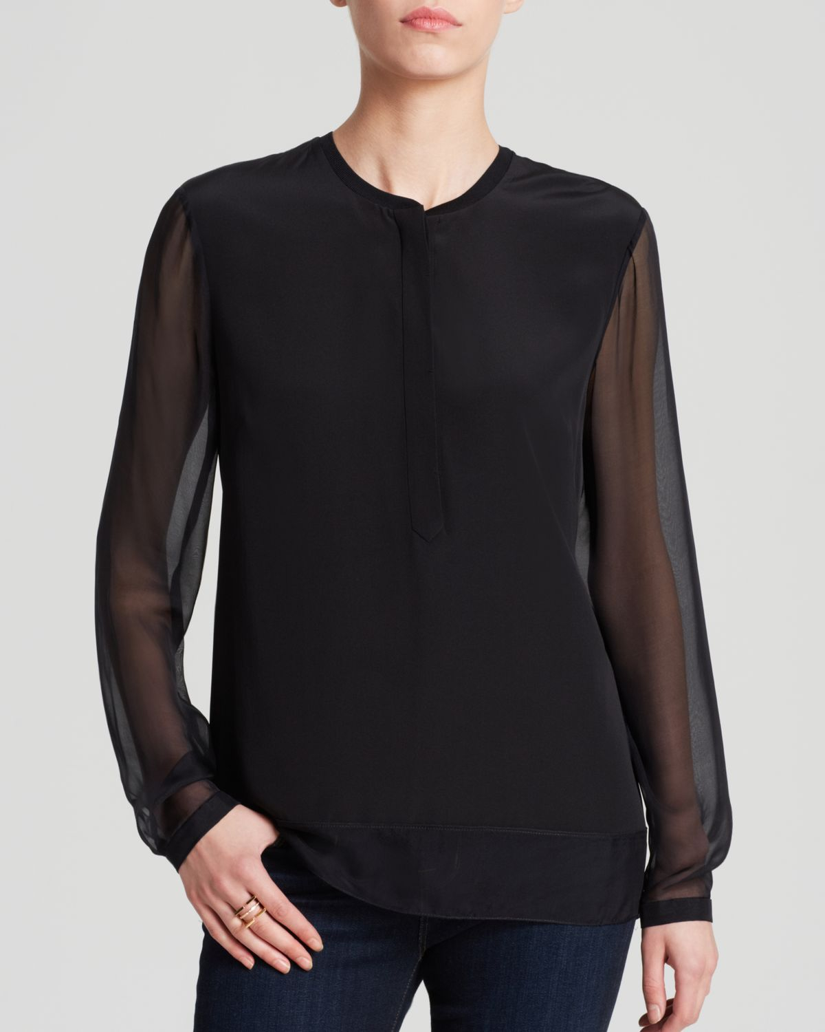 Sheer black blouse long sleeve breeze clothing for Tahari t shirt mens