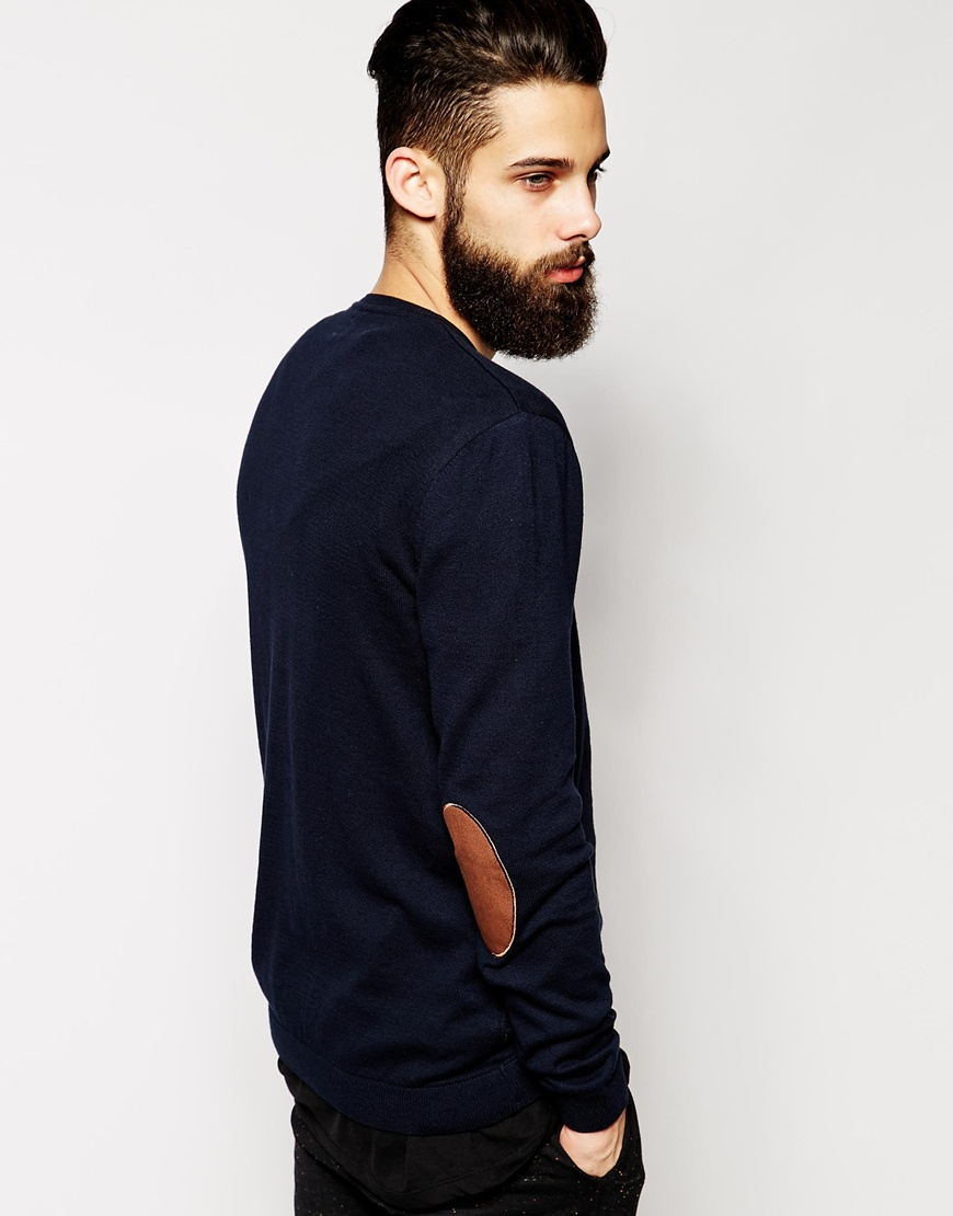 Mens Sweater With Elbow Patches