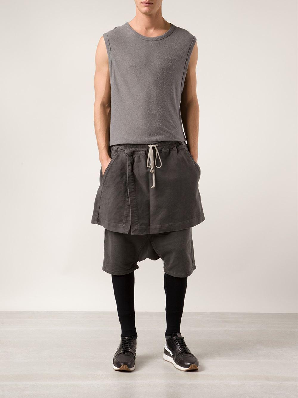 Lyst Drkshdw By Rick Owens Skirt Shorts In Gray For Men