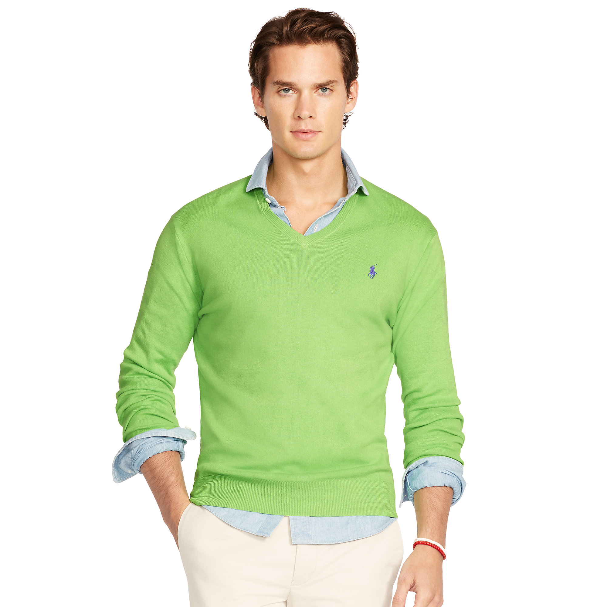 Polo ralph lauren Pima Cotton V-neck Sweater in Green for Men | Lyst