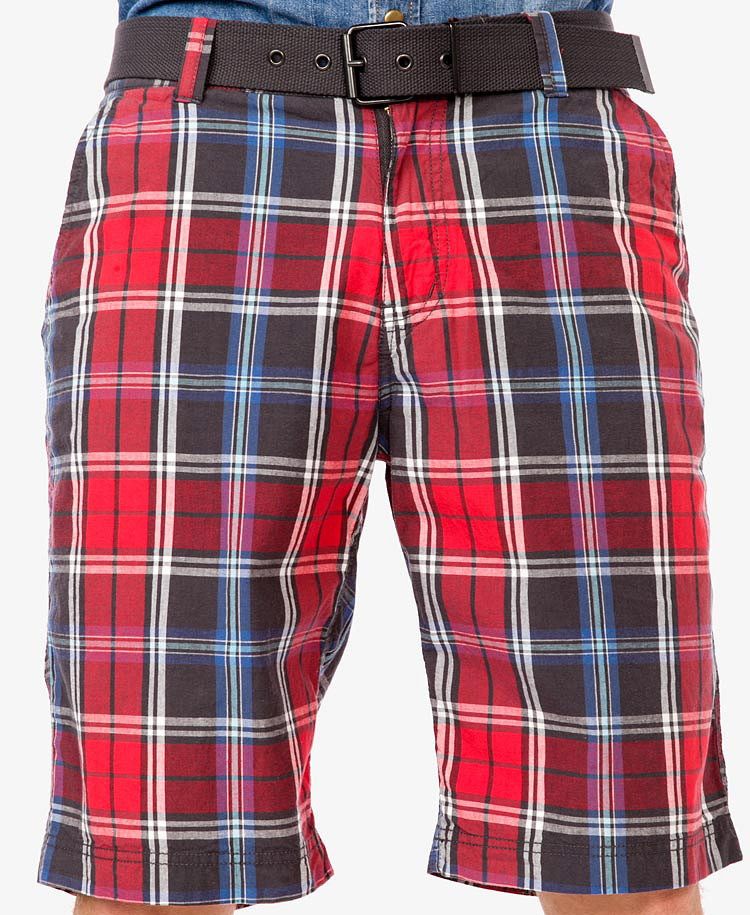Forever 21 Plaid Shorts W/ Belt in Blue for Men | Lyst