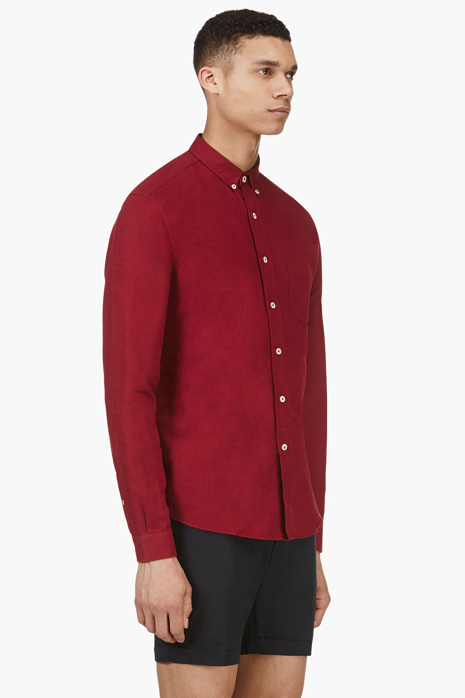 lyst ami burgundy linen blend button down shirt in red