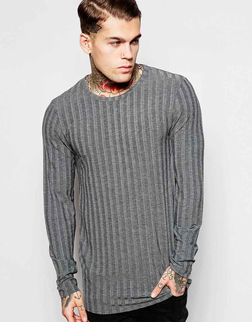 Asos longline long sleeve t shirt in muscle fit with raw for Ribbed long sleeve shirt