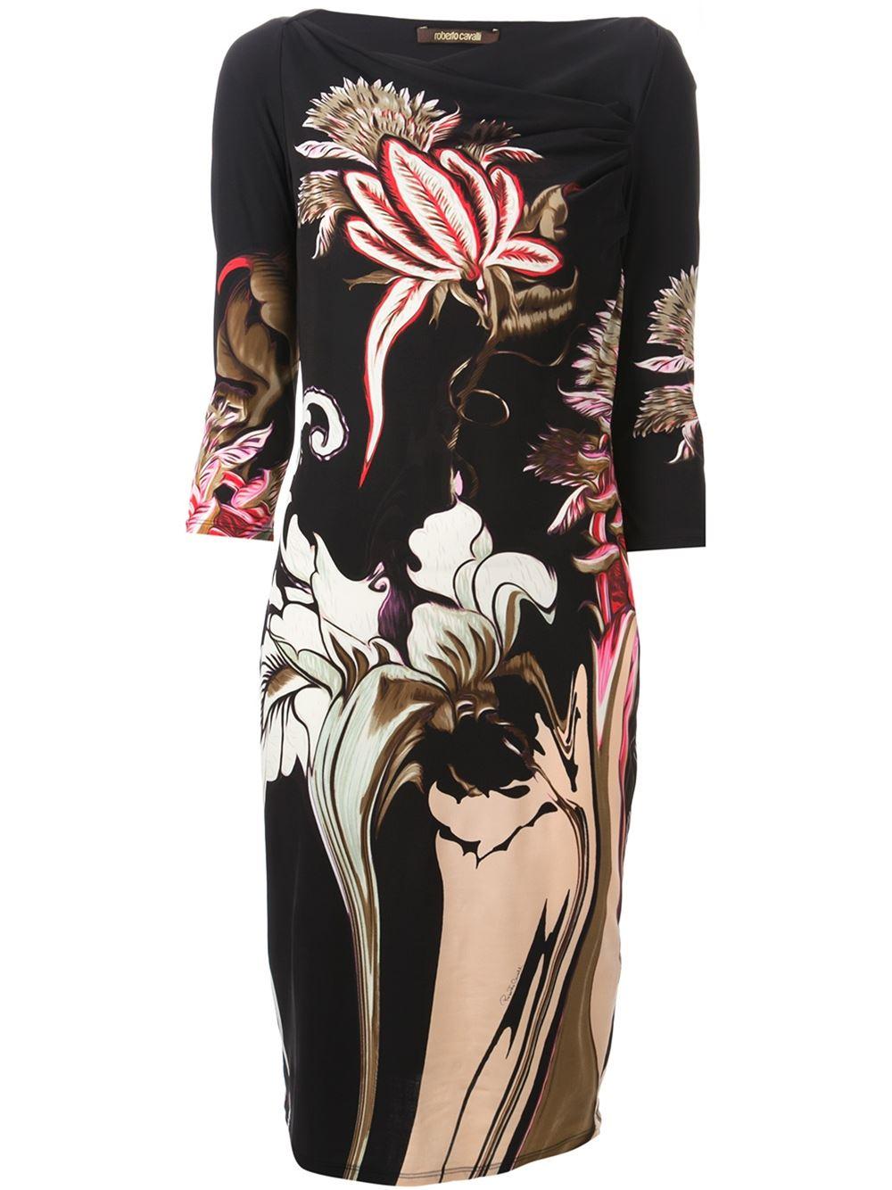 Lyst Roberto Cavalli Floral Print Dress In Black