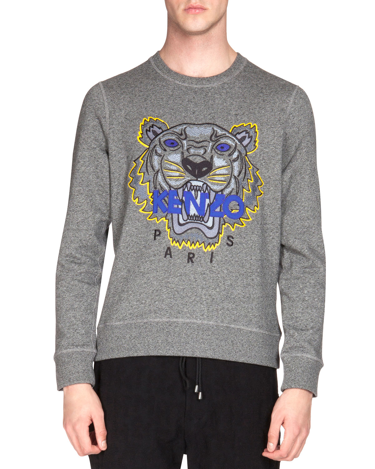 7e77f6596 KENZO Embroidered Tiger Icon Crewneck Sweatshirt in Gray for Men - Lyst