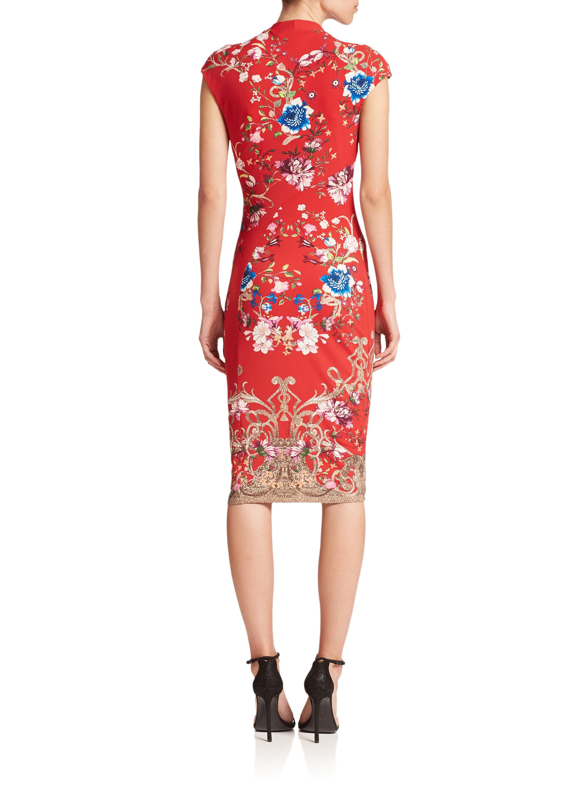 Roberto cavalli Diagonal Floral-print Cap-sleeve Dress in Red | Lyst