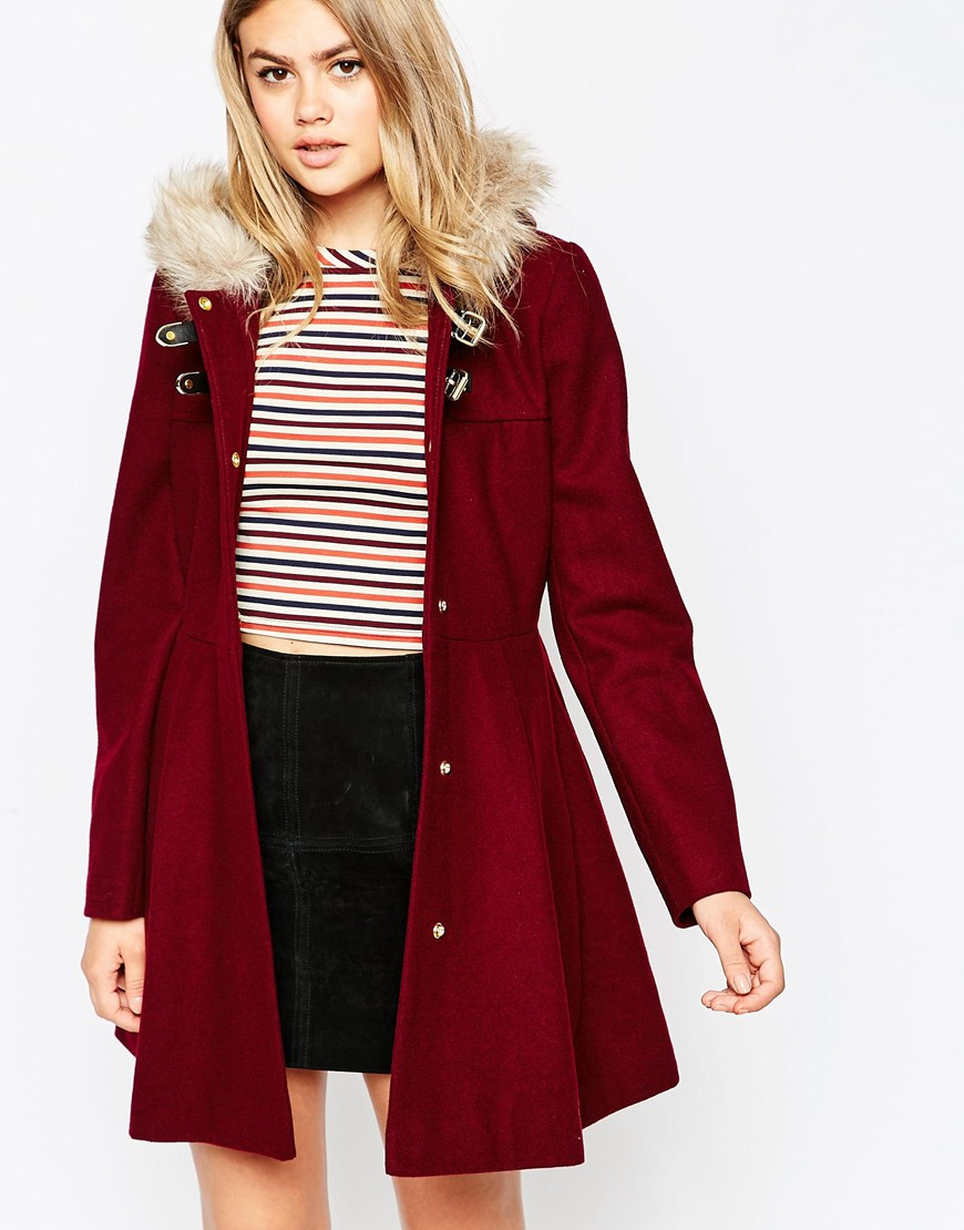 Asos Duffle Coat With Faux Fur Hood in Purple | Lyst