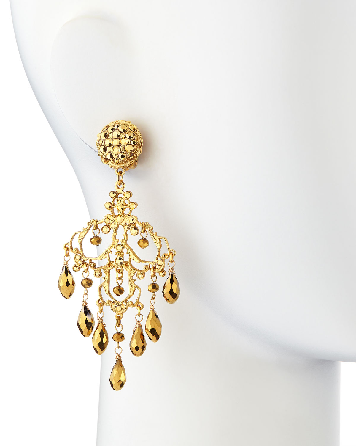 Jose & maria barrera 24K Gold Plated Filigree Chandelier Earrings ...