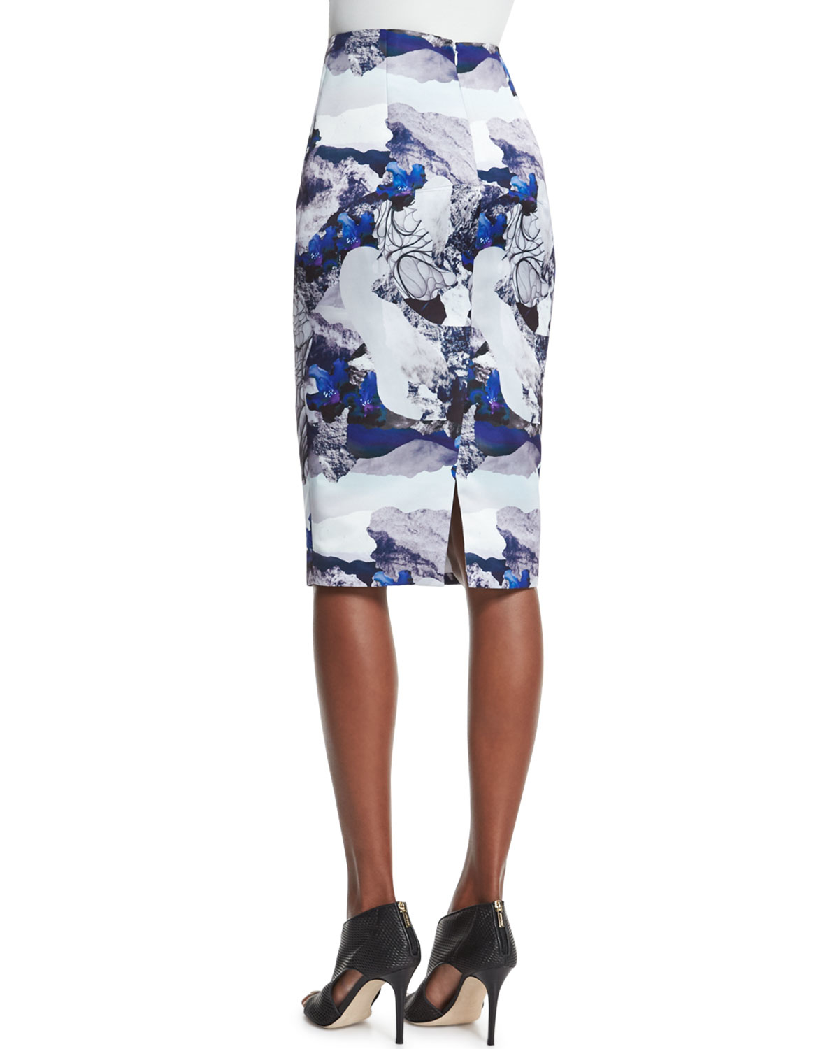 prabal gurung abstract floral print pencil skirt in blue