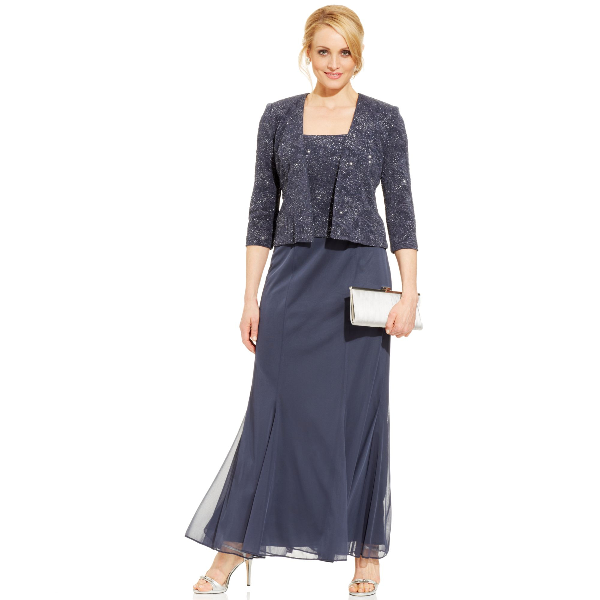 Alex Evenings Petite Sleeveless Glitter Gown And Jacket In