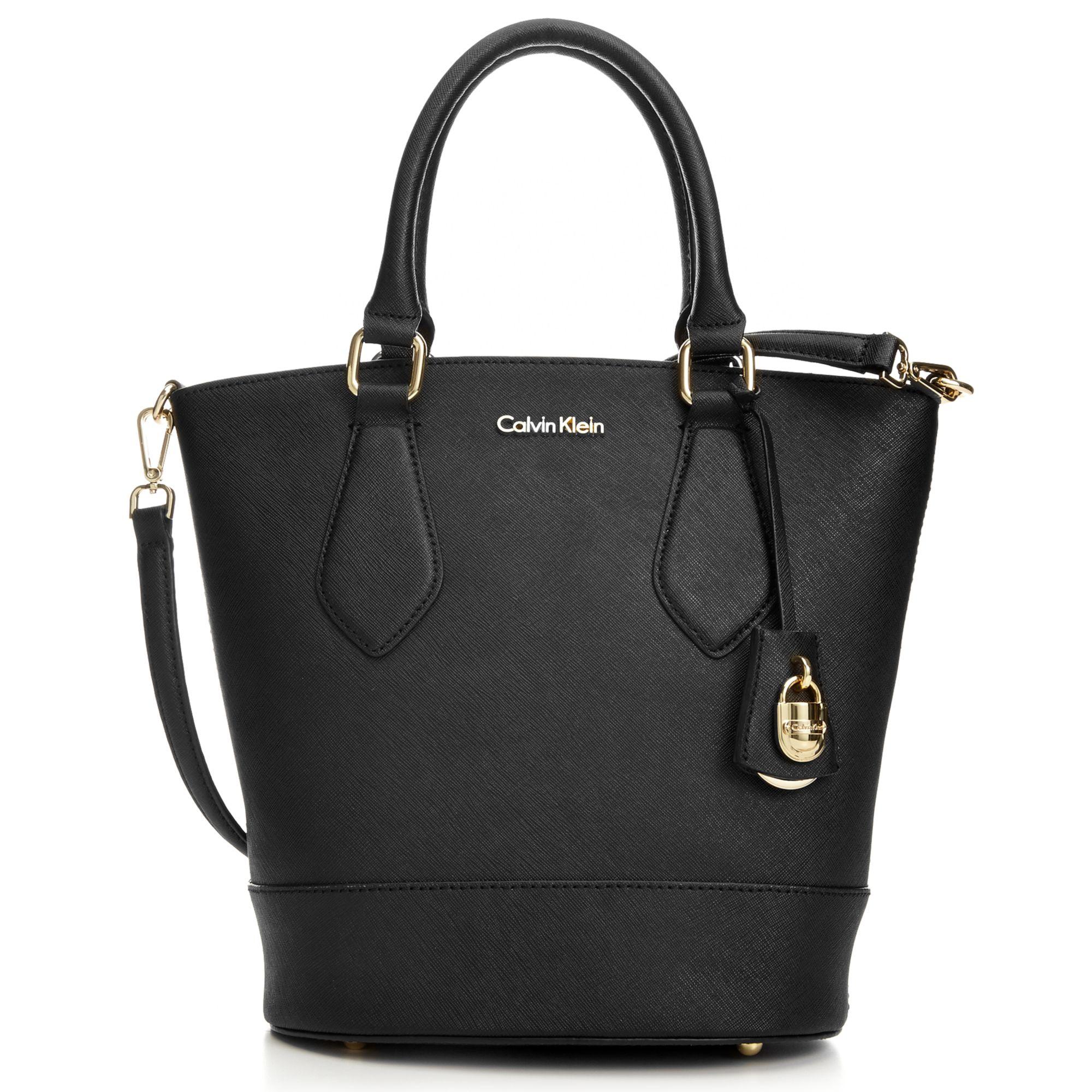 07e337acdf Calvin Klein Modena Saffiano Bucket Bag in Black - Lyst