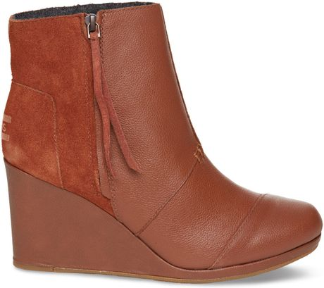 toms leather s desert high wedges in brown