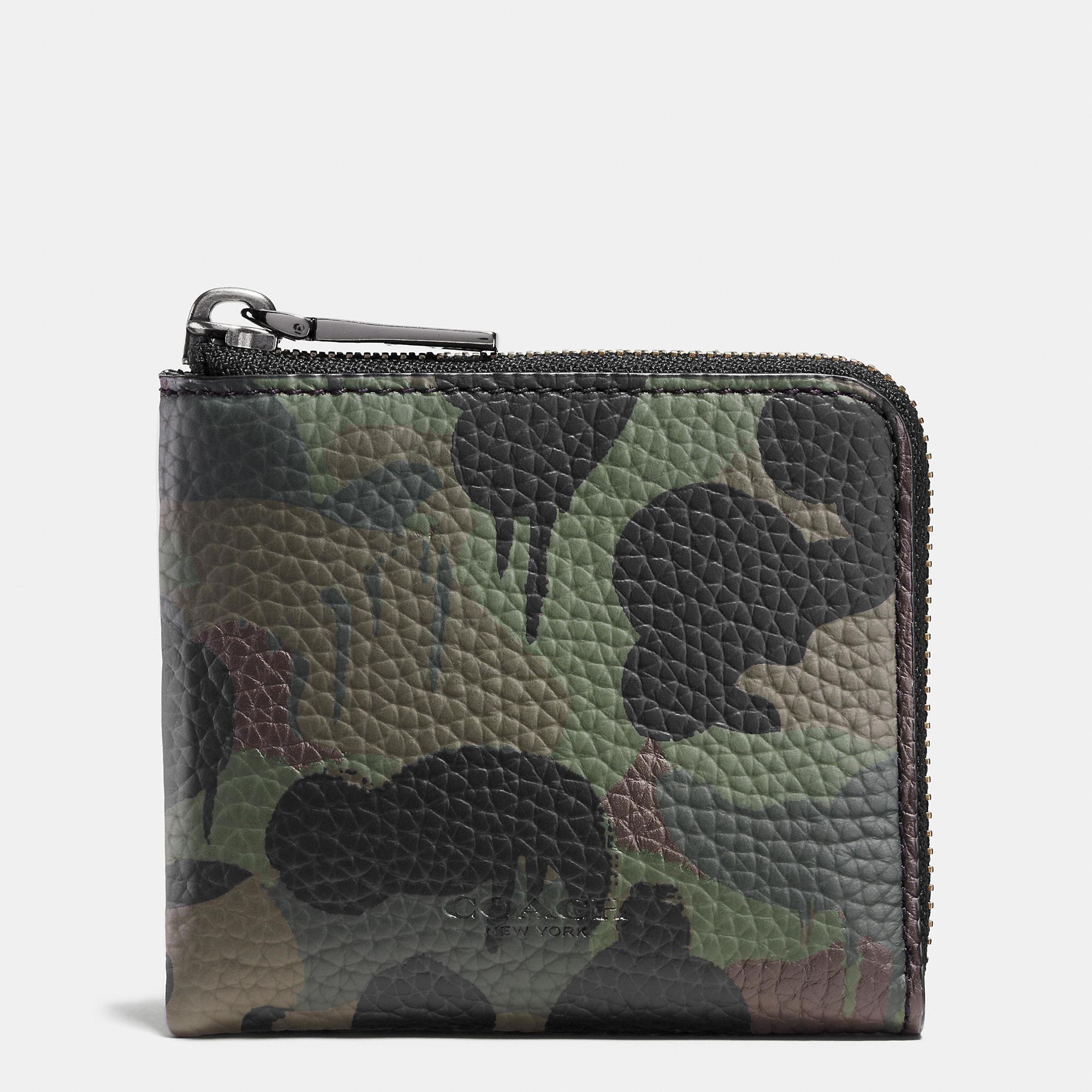 Lyst Coach Half Zip Wallet In Wild Beast Camo Print