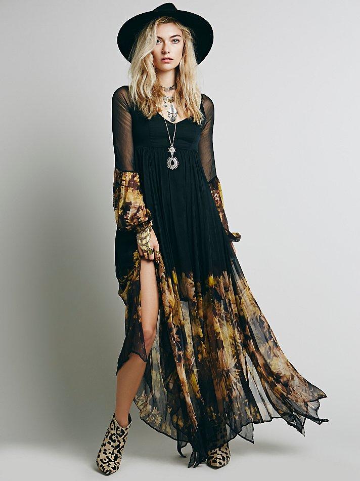 1a012c7dd01ab Free People Womens Dazed Dream Maxi Dress in Black - Lyst