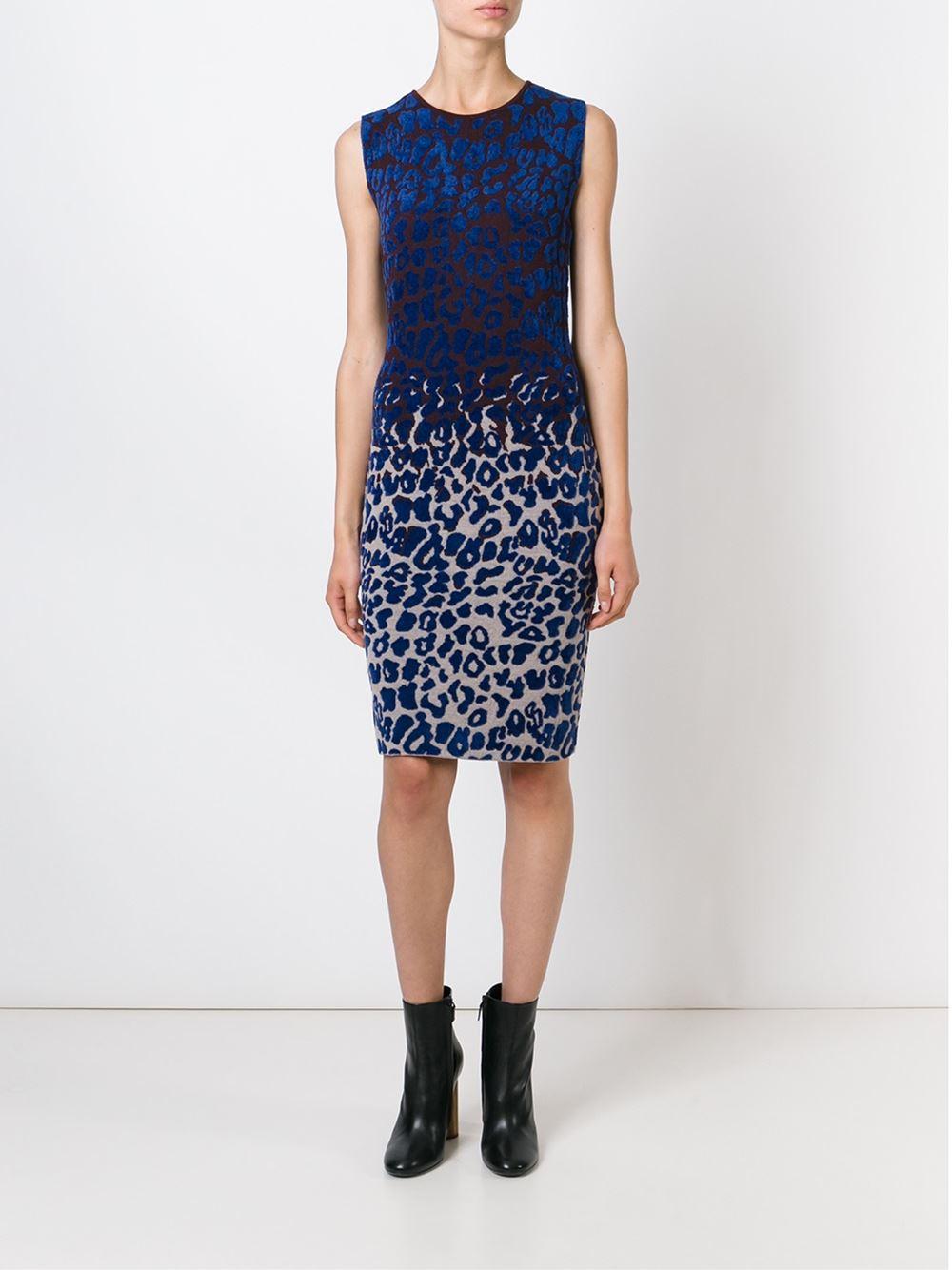 Lyst Lanvin Leopard Print Dress In Blue