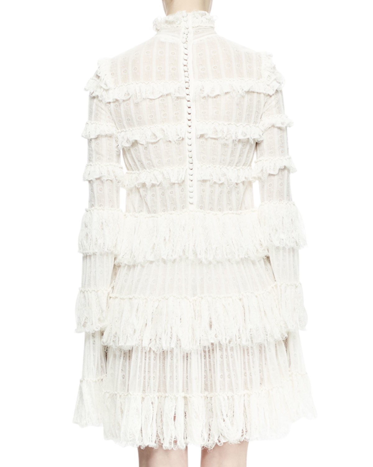 721db3268af4 Lyst - Alexander McQueen Long-sleeve Tiered-lace Ruffle Dress in White