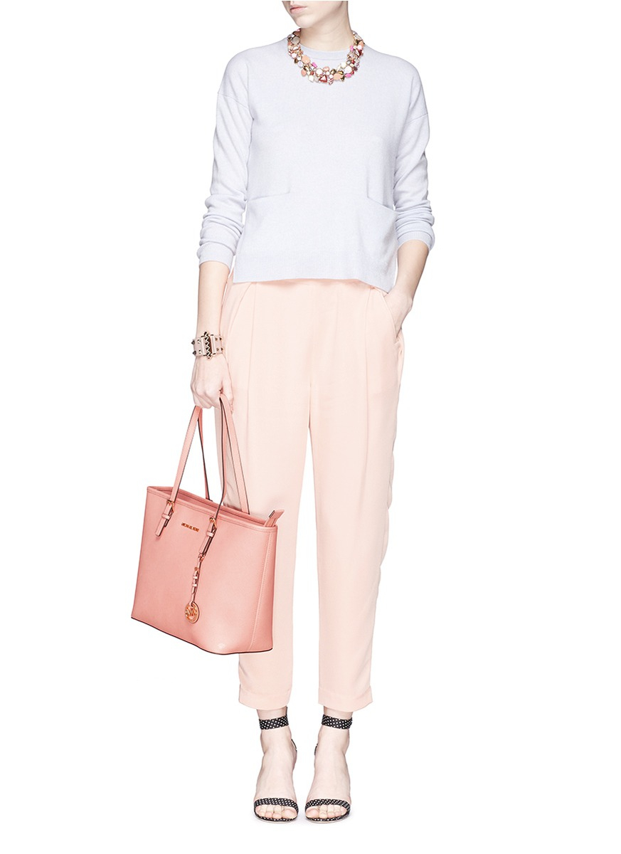 cde16993c Michael Kors 'jet Set Travel' Saffiano Leather Top Zip Tote in Pink - Lyst