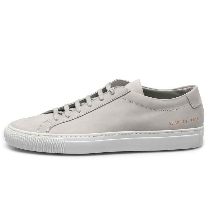 Common projects Ice Grey Nubuck Leather Achilles Low Sneakers in White for Men | Lyst