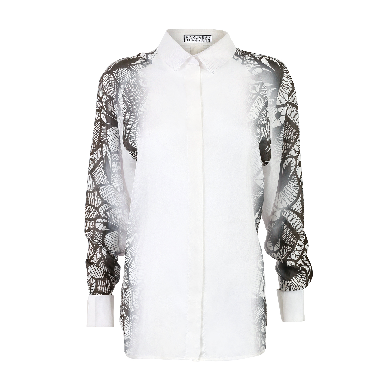 Mariana jungmann long sleeves silk shirt in white lyst for Silk long sleeve shirt