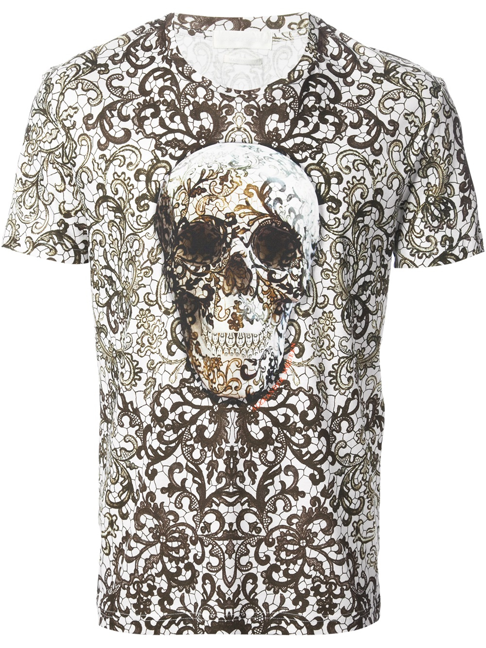 Alexander Mcqueen Baroque Skull Print Tshirt In White For