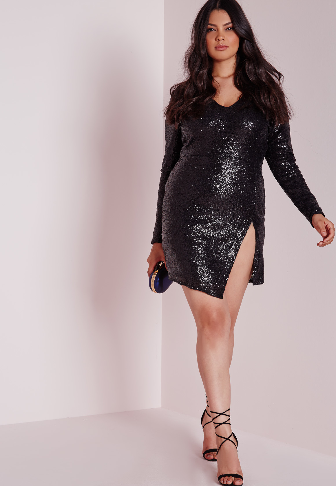 Lyst - Missguided Plus Size Sequin Long Sleeve Mini Dress Black in ...