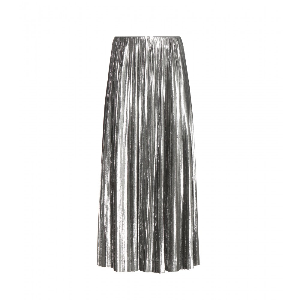 loewe metallic silk blend pleated skirt in metallic lyst