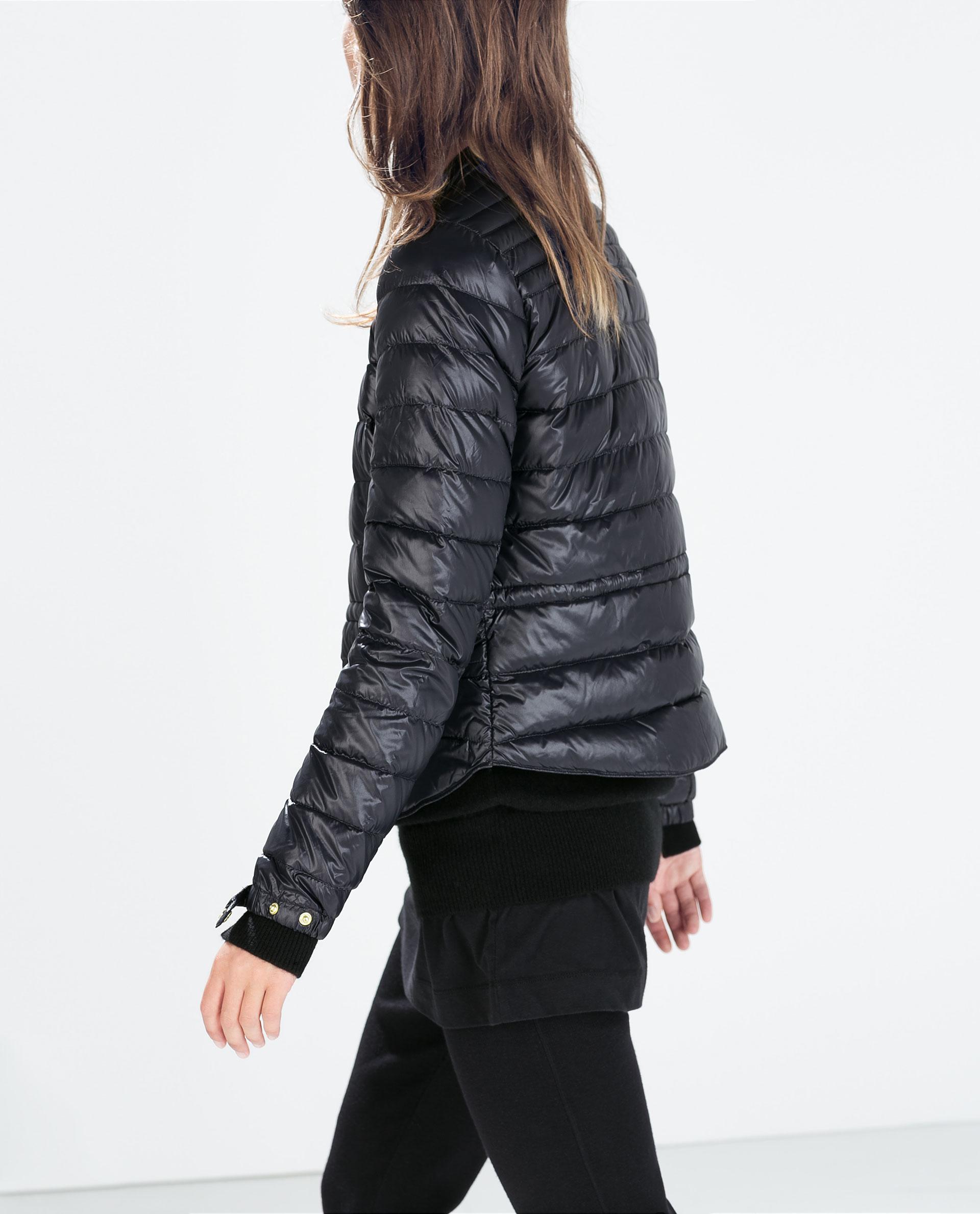Zara Ultralight Short Down Jacket in Blue | Lyst